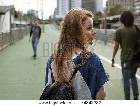Girl Commuter Walking City Life Lifestyle Hangout Concept