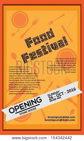 Food Festival Flayer Or Banner With Simple Orange Background