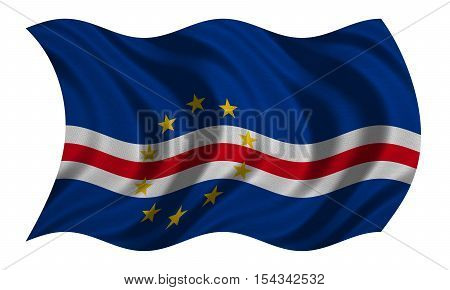 Cape Verdean national official flag. African patriotic symbol banner element background. Correct colors. Flag of Cape Verde with real detailed fabric texture wavy isolated on white 3D illustration
