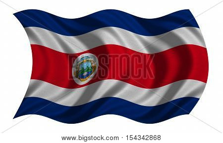 Costa Rican national official flag. Patriotic symbol banner element background. Correct colors. Flag of Costa Rica with real detailed fabric texture wavy isolated on white 3D illustration