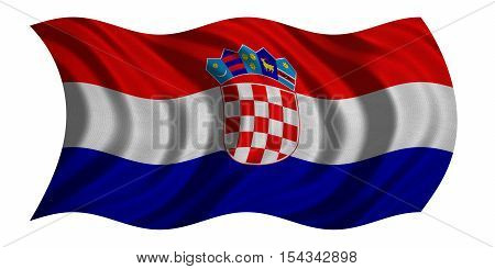 Croatian national official flag. Patriotic symbol banner element background. Correct colors. Flag of Croatia with real detailed fabric texture wavy isolated on white 3D illustration