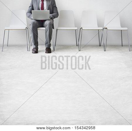 Businessman Using Laptop Connection Communication Concept
