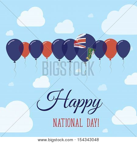 Virgin Islands, British National Day Flat Patriotic Poster. Row Of Balloons In Colors Of The Virgin