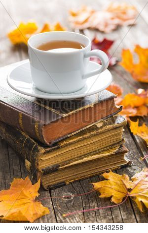 Cup of tea with old book and autumn leaves.