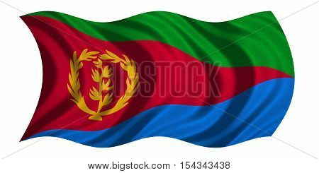 Eritrean national official flag. African patriotic symbol banner element background. Correct colors. Flag of Eritrea with real detailed fabric texture wavy isolated on white 3D illustration