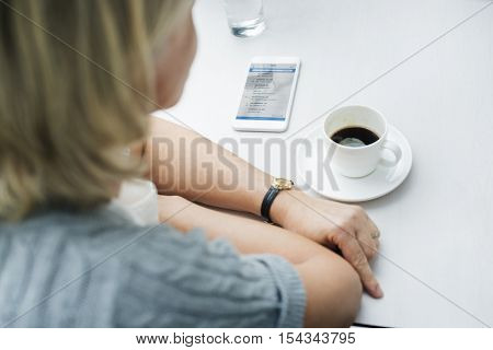 Woman Coffee Shop Using Email Smart Phone Concept