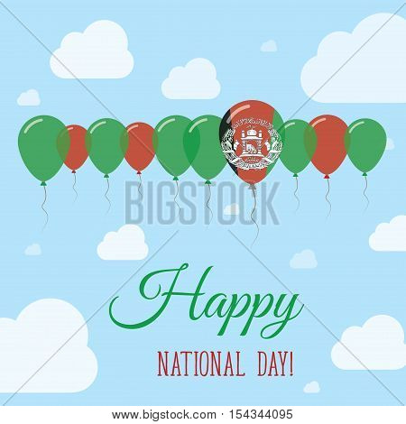 Afghanistan National Day Flat Patriotic Poster. Row Of Balloons In Colors Of The Afghan Flag. Happy