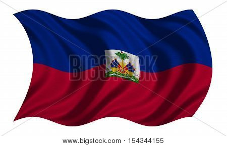 Haitian national official flag. Patriotic symbol banner element background. Correct colors. Flag of Haiti with real detailed fabric texture wavy isolated on white 3D illustration