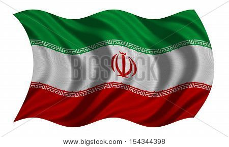 Iranian national official flag. Islamic Republic of Iran patriotic symbol banner element background. Correct colors. Flag of Iran with detailed fabric texture wavy isolated on white 3D illustration