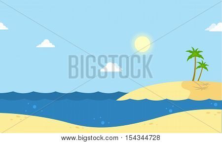 Seaside beautiful scenery cartoon vector collection stock