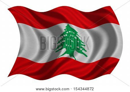 Lebanese national official flag. Patriotic symbol banner element background. Correct colors. Flag of Lebanon with real detailed fabric texture wavy isolated on white 3D illustration