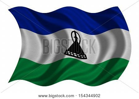 Lesotho national official flag. Basotho african patriotic symbol banner element background. Correct colors. Flag of Lesotho with real detailed fabric texture wavy isolated on white 3D illustration