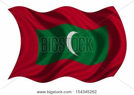 Maldivian national official flag. Patriotic symbol banner element background. Correct colors. Flag of Maldives with real detailed fabric texture wavy isolated on white 3D illustration