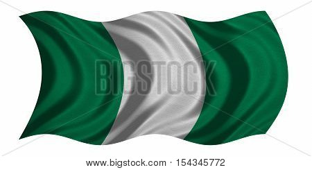 Nigerian national official flag. African patriotic symbol banner element background. Correct colors. Flag of Nigeria with real detailed fabric texture wavy isolated on white 3D illustration