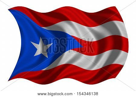 Puerto Rican national official flag. Patriotic symbol banner element background. Correct colors. Flag of Puerto Rico with real detailed fabric texture wavy isolated on white 3D illustration
