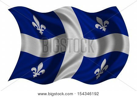 Canadian provincial flag QC patriotic element and official symbol. Canada Quebec banner and background. Flag of the Canadian province of Quebec wavy isolated on white fabric texture 3D illustration