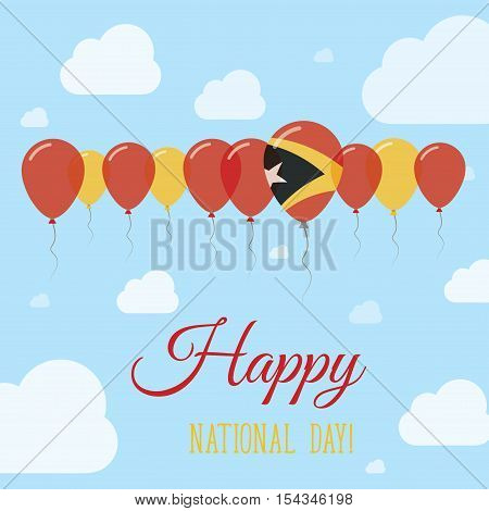 Timor-leste National Day Flat Patriotic Poster. Row Of Balloons In Colors Of The East Timorese Flag.