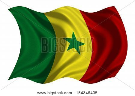 Senegalese national official flag. African patriotic symbol banner element background. Correct colors. Flag of Senegal with real detailed fabric texture wavy isolated on white 3D illustration