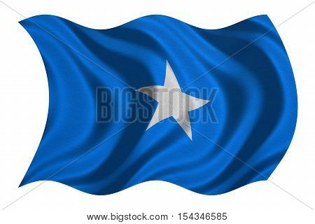 Somali national official flag. African patriotic symbol banner element background. Correct colors. Flag of Somalia with real detailed fabric texture wavy isolated on white 3D illustration