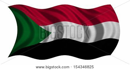 Sudanese national official flag. African patriotic symbol banner element background. Correct colors. Flag of Sudan with real detailed fabric texture wavy isolated on white 3D illustration