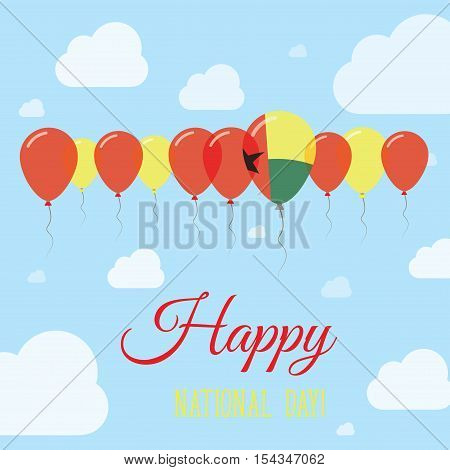 Guinea-bissau National Day Flat Patriotic Poster. Row Of Balloons In Colors Of The Guinea-bissauan F