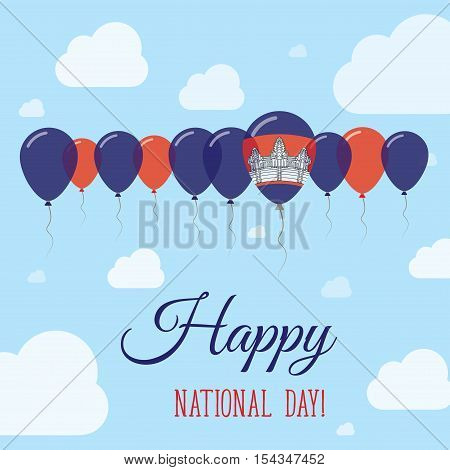 Cambodia National Day Flat Patriotic Poster. Row Of Balloons In Colors Of The Cambodian Flag. Happy