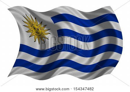 Uruguayan national official flag. Patriotic symbol banner element background. Correct colors. Flag of Uruguay with real detailed fabric texture wavy isolated on white 3D illustration