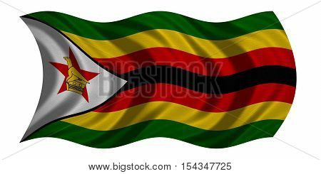 Zimbabwean national official flag. African patriotic symbol banner element background. Correct colors. Flag of Zimbabwe with real detailed fabric texture wavy isolated on white 3D illustration