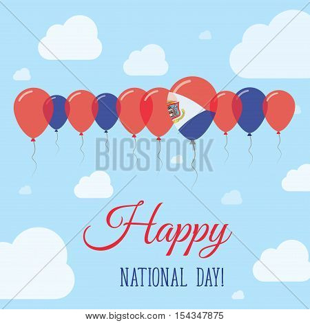 Sint Maarten National Day Flat Patriotic Poster. Row Of Balloons In Colors Of The Dutch Flag. Happy