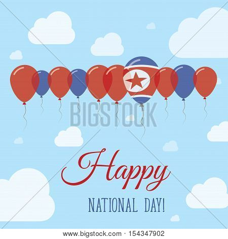 Korea, Democratic People's Republic Of National Day Flat Patriotic Poster. Row Of Balloons In Colors