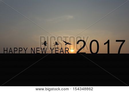 Silhouette of number 2017 on the house roof and sunrise in twilight skyconcept of the New Year and Christmas.
