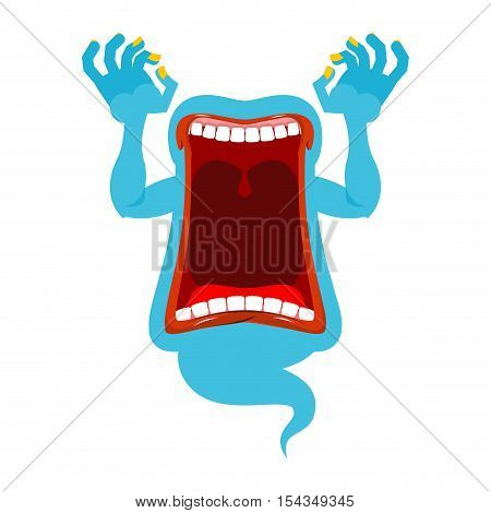Hungry Ghost. Scary Spook. Horrible Ghost Frightening Screams. Phasing Blue Monster With An Open Mou