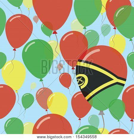 Vanuatu National Day Flat Seamless Pattern. Flying Celebration Balloons In Colors Of Ni-vanuatu Flag