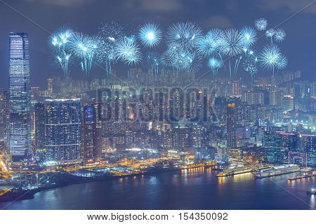 Fireworks Festival Over Hong Kong City At Night
