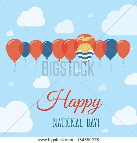 Kiribati National Day Flat Patriotic Poster. Row Of Balloons In Colors Of The I-kiribati Flag. Happy
