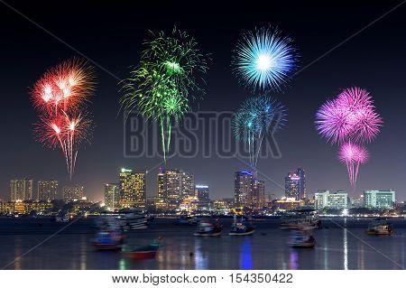 Fireworks Over Pattaya Beach At Night, Chonburi, Thailand