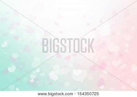 Abstract blurred background of Illustration happy valentine's day concept. Pink white sparkles hearts bokeh. White blur lights. Month of Love february. Pastel color tones. Valentine day card