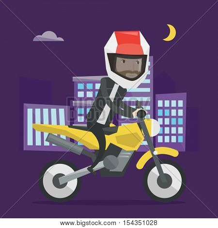 Young man in helmet riding a motorcycle on the background of night city. Man driving a motorbike on city road. Hipster man riding a motorcycle at night. Vector flat design illustration. Square layout.