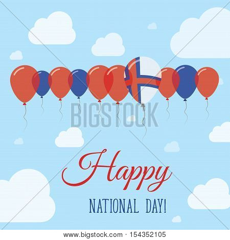 Faroe Islands National Day Flat Patriotic Poster. Row Of Balloons In Colors Of The Faroese Flag. Hap