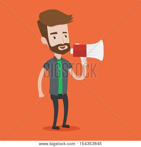 Hipster man with beard holding megaphone. Social media marketing concept. Man promoter speaking into a megaphone. Young man advertising using megaphone. Vector flat design illustration. Square layout.