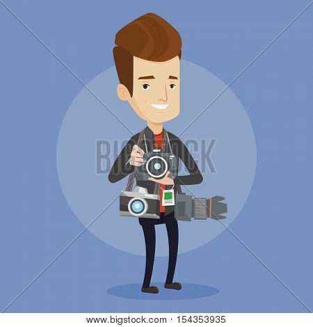 Cheerful paparazzi with many cameras. Young caucasian male photographer with many photo cameras equipment. Professional journalist with many cameras. Vector flat design illustration. Square layout.