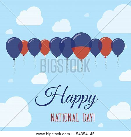 Haiti National Day Flat Patriotic Poster. Row Of Balloons In Colors Of The Haitian Flag. Happy Natio