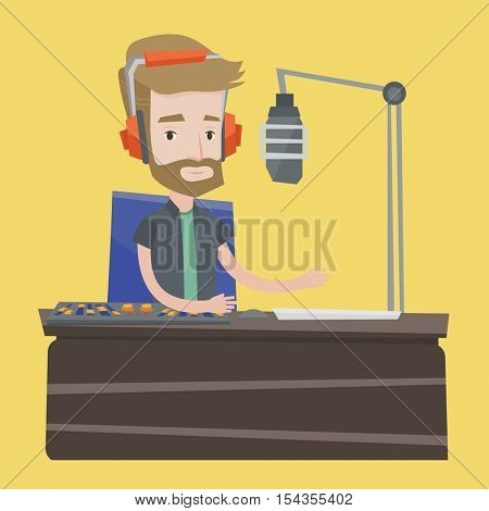 Young hipster dj working on mixing console and speaking into a microphone on the radio. Cheerful news presenter in headset working on a radio station. Vector flat design illustration. Square layout.