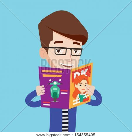 Caucasian man reading a magazine. Young man standing with magazine in hands. Cheerful man holding a magazine. Happy man reading good news in a magazine. Vector flat design illustration. Square layout.