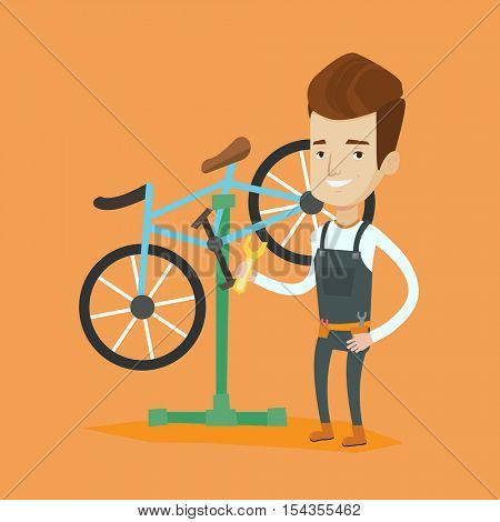 Caucasian man working in bike workshop. Technician fixing bicycle in repair shop. Bicycle mechanic repairing bicycle. Man installing spare part bike. Vector flat design illustration. Square layout.