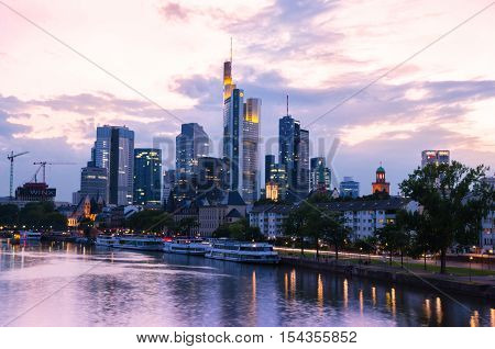 Frankfurt City Skyscrapers In Downtown At Sunset