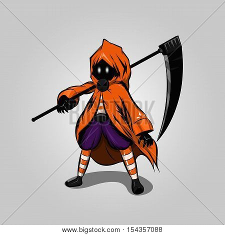 Halloween reaper character design on gray background, vector