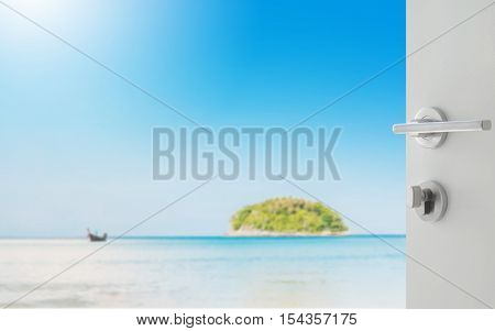 Opened White Door To Beautiful Seascape With Blue Sea Beach Island And The Long Tail Boat Under Clea
