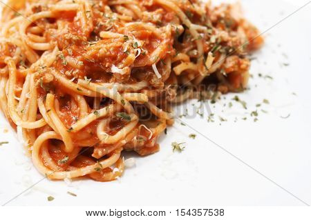 Close-up of spaghetti on white plain plate - copy space