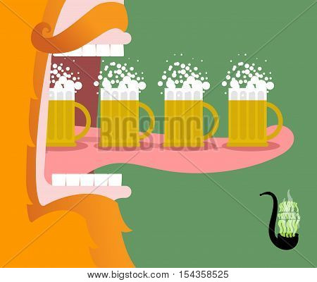 Leprechaun Drinking Beer. Scary Gnome Reddish Beard And Mug Of Ale. Open Mouth And Tongue. Illustrat